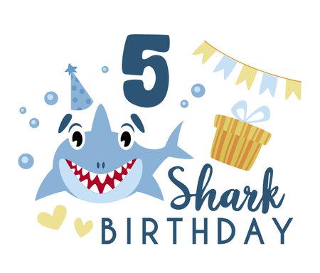 Baby Shark birthday party clip art - cartoon baby birthday composition, vector nursery cute nautical or undersea animal illustration on white background