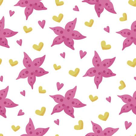 Sea starfish cartoon seamless pattern - endless kids nautical digital paper, vector nursery cute undersea animal background