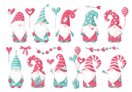 Valentine cartoon gnome clip art set - cute valentine day Gnomes or Dwarfs with balloons, hearts isolated on white, nursery kids characters in pink and peppermint color