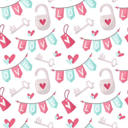 Valentine day cartoon seamless pattern, cute kids valentine heart, lock, flags garland, nursery endless digital paper in pink and peppermint color, background Çizim