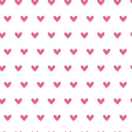Valentine day abstract cartoon seamless pattern, cute simple hearts valentine endless digital paper in pink color, vector background