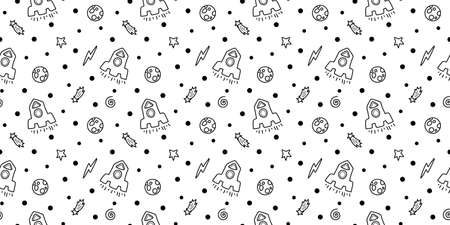 Space black and white doodle seamless pattern - hand drawn line digital paper with space, stars, planet and rocket, cute kids seamless background