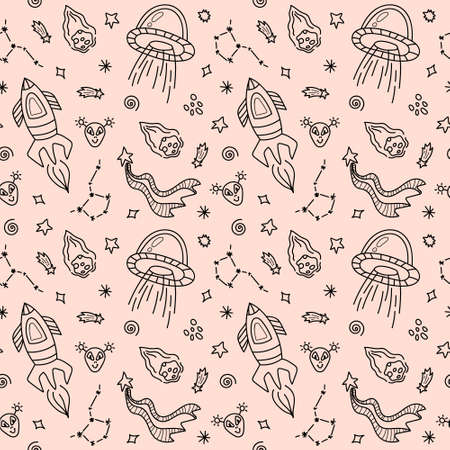 Space black and white doodle seamless pattern - hand drawn line digital paper with space, star, ufo, rocket, constellation, cute kids seamless background Çizim