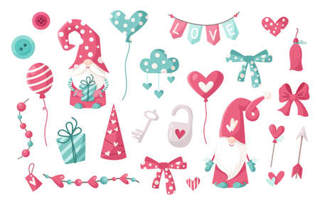 Valentine cartoon gnome clipart set - cute valentine day Gnomes or Dwarfs with balloons, hearts, cloud, bow and garland isolated on white, nursery kids characters.