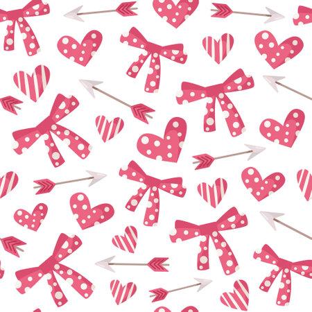 Valentine day cartoon seamless pattern - cute kids valentine bow, heart and arrow background.