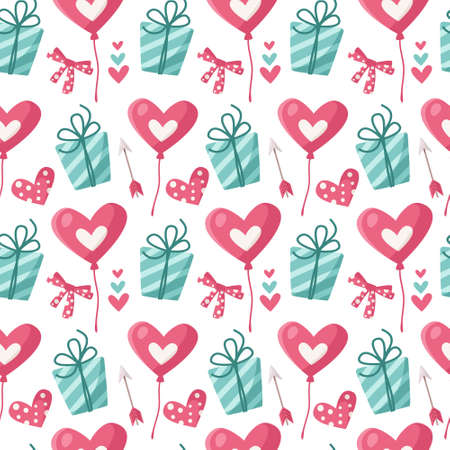 Valentine day cartoon seamless pattern - cute kids valentine balloon, gift box, arrow, heart background