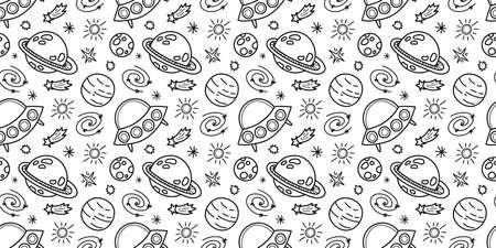 Space black and white doodle seamless pattern - hand drawn line digital paper seamless background. Çizim