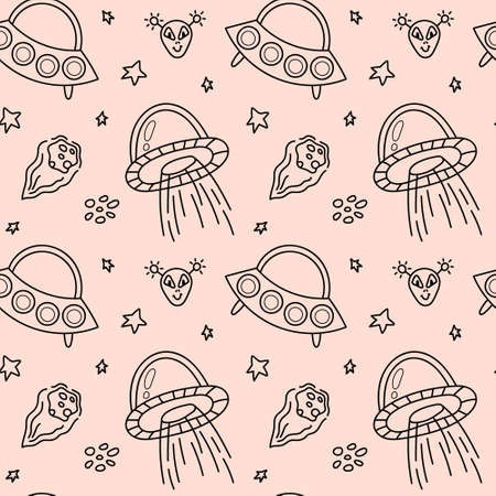 Space black and white doodle seamless pattern - hand drawn line digital paper with space, stars, spaceship, alien and ufo, cute kids seamless background.