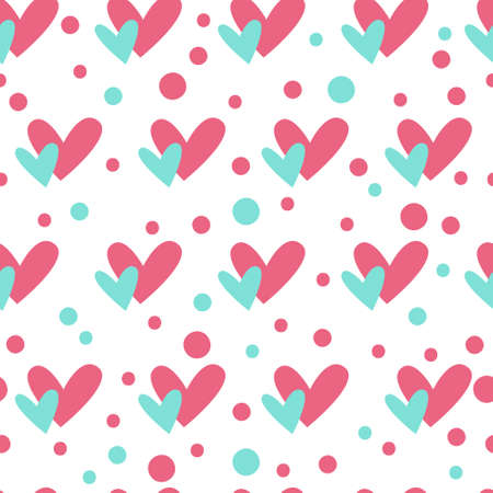 Valentine day cartoon seamless pattern - cute valentine hearts and dots on white, simple nursery endless digital paper pink and peppermint color, background. Çizim