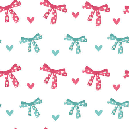 Valentine day cartoon seamless pattern - cute kids valentine bow and heart, nursery endless digital paper in pink and peppermint color, background.