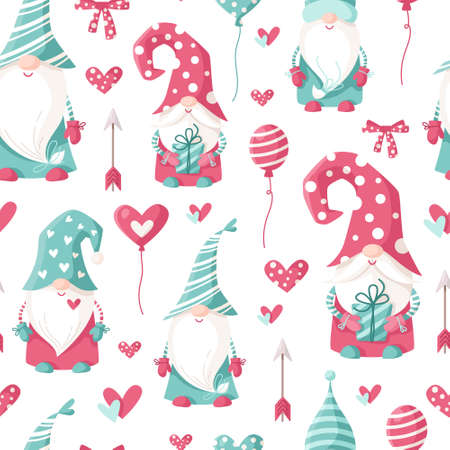 Valentine cartoon gnome seamless pattern - cute valentine day characters for kids, nursery dwarfs endless digital paper in pink and peppermint color, background.