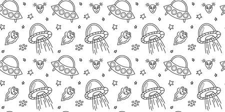 Space black and white doodle seamless pattern - hand drawn line digital paper with space, stars, ufo, alien, cute kids seamless background.