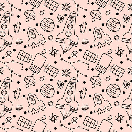 Space black line doodle seamless pattern - hand drawn digital paper with space, stars, planet, rocket, constellation, cute kids seamless background.