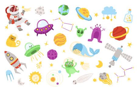 Space cartoon kids clipart set - cute astronaut, space cat, planet, ufo spaceship and alien, blue cosmic whale, rocket, sun, nursery isolated design. Çizim