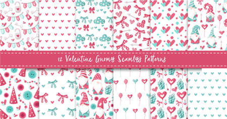 Valentine gnome seamless pattern bundle - cartoon valentine day gnomes, hearts, ballon, bow, cloud, nursery endless digital paper in pink and peppermint, background.