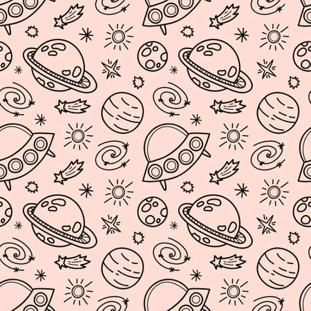 Space black and white doodle seamless pattern - hand drawn line digital paper with space, stars, planet, spaceship and ufo, cute kids seamless background.
