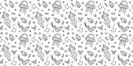 Space black and white doodle seamless pattern - hand drawn line digital paper with space, stars, spaceship, ufo and rocket, cute kids seamless background.