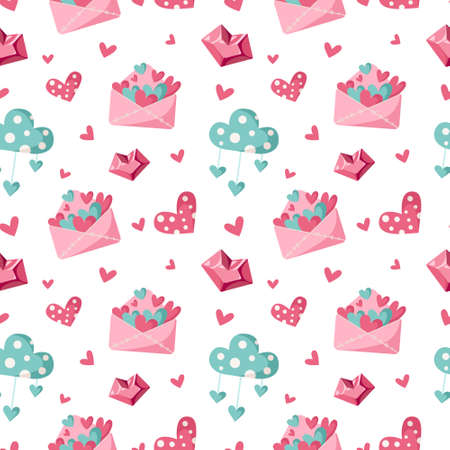 Valentine day cartoon seamless pattern - cute valentine letter, cloud and heart, nursery endless digital paper in pink and peppermint color, background. Çizim