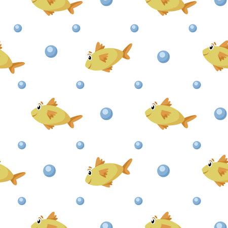Nautical cartoon seamless pattern - cute golden fish and bubbles seamless digital paper, vector nursery marine or undersea animal background.
