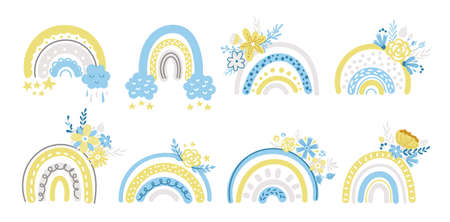 Spring floral rainbow clipart set - blue and yellow baby rainbows and flowers isolated on white background, floral nursery cartoon compositions.