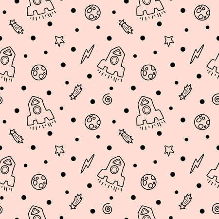 Space black and white doodle seamless pattern - hand drawn digital paper with space, stars, moon and rocket, kids celestial seamless background.