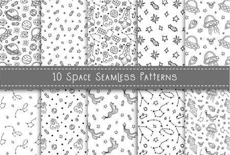 Space black and white doodle seamless pattern bundle - hand drawn digital paper with space, stars, spaceship, rocket, ufo, celestial kids seamless background. Çizim
