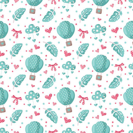 Valentine day cartoon seamless pattern - cute hot air balloon, bow, feather and heart, nursery digital paper in pink and peppermint color. Çizim