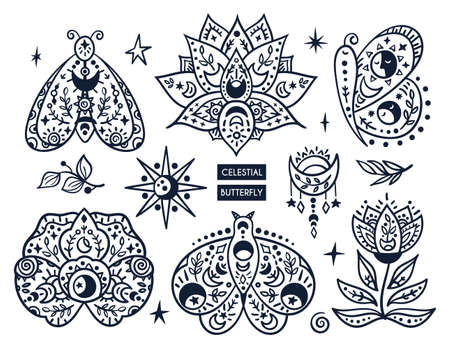 Black-white celestial butterfly, moth, flower isolated kids clipart, hand drawn line insects, lotus flower, stars and moon cute magic baby illustration.