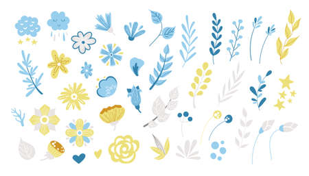 Spring floral cartoon clipart, blue and yellow flowers, brunches, leaves isolated on white background, floral nursery design elements bundle. Çizim