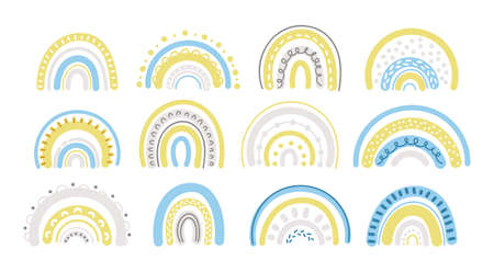 Spring pastel rainbow in blue and yellow clipart set - baby cartoon rainbows isolated on white background, cute nursery decorative design elements.
