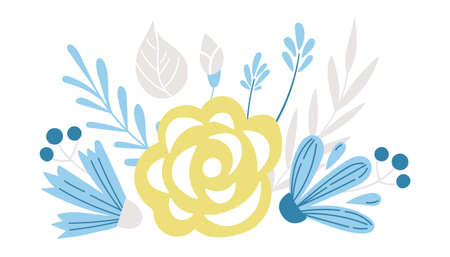 Spring floral bouquet isolated clipart, blue and yellow baby flowers. rose and cornflower on white background, floral nursery cartoon compositions. Çizim