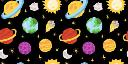 Space celestial seamless pattern, cartoon planet or solar system kids digital paper. Çizim