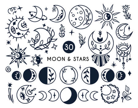 Black-white celestial moon and sun boho kids clipart, hand drawn line mystical symbols isolated on white background, cute magic baby illustration, vector design elements Vectores