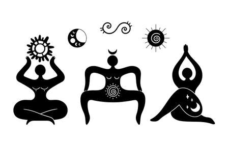 Mystical celestial and solar spiral goddess isolated cliparts bundle, mystical wiccan woman silhouette, female symbol, moon and sun esoteric objects, black and white vector illustration