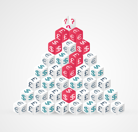 Currency symbols pyramid made from dices with currrncy symbols dollar, euro, pound and questin mark - finace concept. Vector illustration.