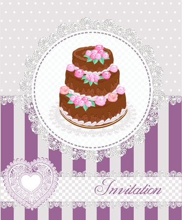 lila: Violet Invitation card with rose decorated chocolate cake  and laces. Vector illustration.