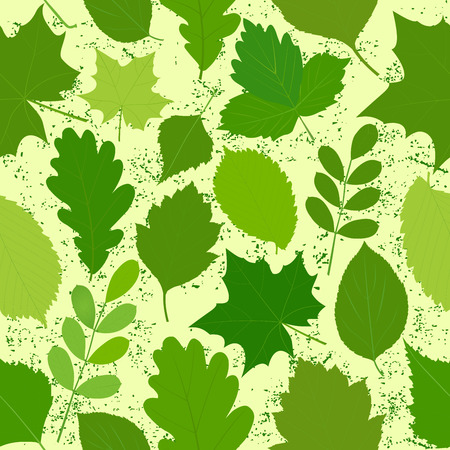 green leaves seamless background in retro style.Vector illustration.