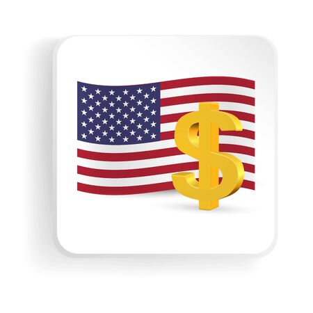 financial market: American dollar golden sign with US flag. Vector icon Illustration