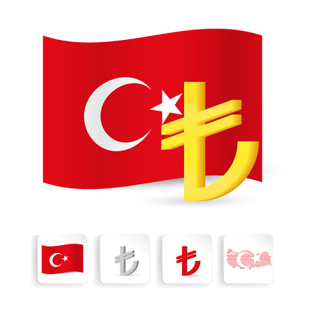 turkish flag: Turkey lira sign symbol with turkish flag and map, web icon set. Vector illustration. Illustration