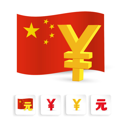 yuan: Yuan currency sign with chinese flagand map, web icon set. Vector illustration Illustration