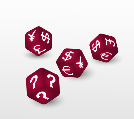 trading questions: Red dices with symbols of euro, dollar, pound, yuan,  yen and question. Finance and money concept. Vector illustration.