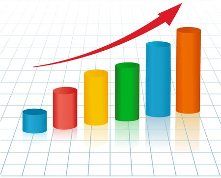 economic forecast: Rising graph with red arrow for marketing reports.  Vector illustration.