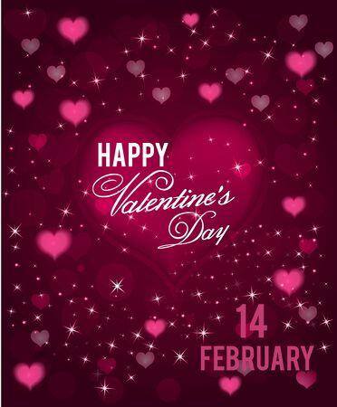 tarjeta del día de San Valentín con corazones abstracto con y destellos. Ilustración del vector.