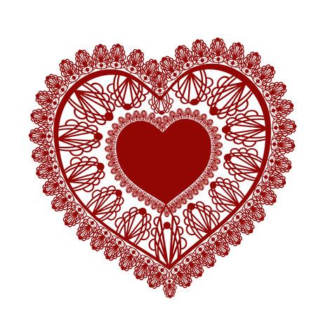 Lace heart on white background . Vector illustration. Illustration