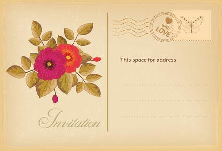vintage postcard: Vintage invitation postcard with flowers. Vector illustration