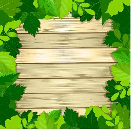 bordering: green leaves frame on wooden background. Vector illustration.