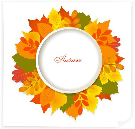 bordering: Round frame made from leaves with word autumn in center. Vector illustration.