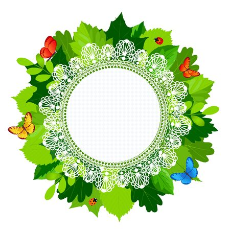 bordering: Summer round leaves frame with lace and butterflies and ladybug. Vector illustration.