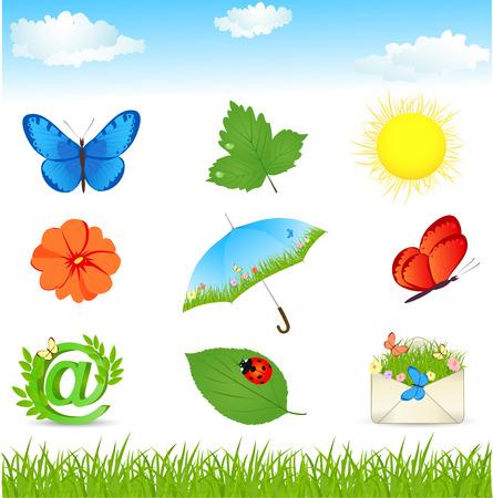 sun umbrella: Summer icons set for web site - green leaves and grass,butterflies, sun umbrella, green mail symbol. Vector illustration.