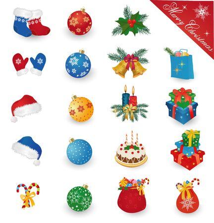 ilex: Merry Christmas icons collection - gift boxes, balls, santa hat, bells, misrletoe, candles, mitten, cake. Vector illustration. Illustration